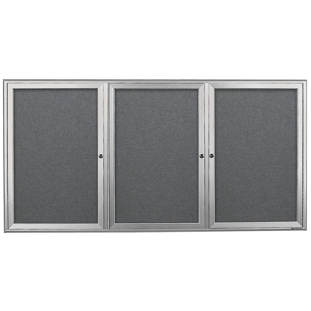"""Indoor Enclosed Bulletin Boards Graphite Color Trim 2 Door 36""""H x 72""""W"""