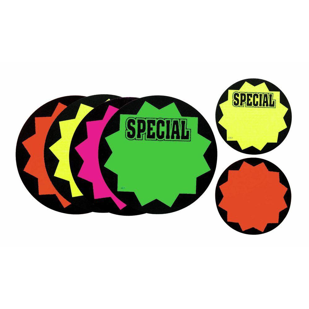 "CARD.STARBURST, BLK EDGE, SPECIAL, 3.5"""
