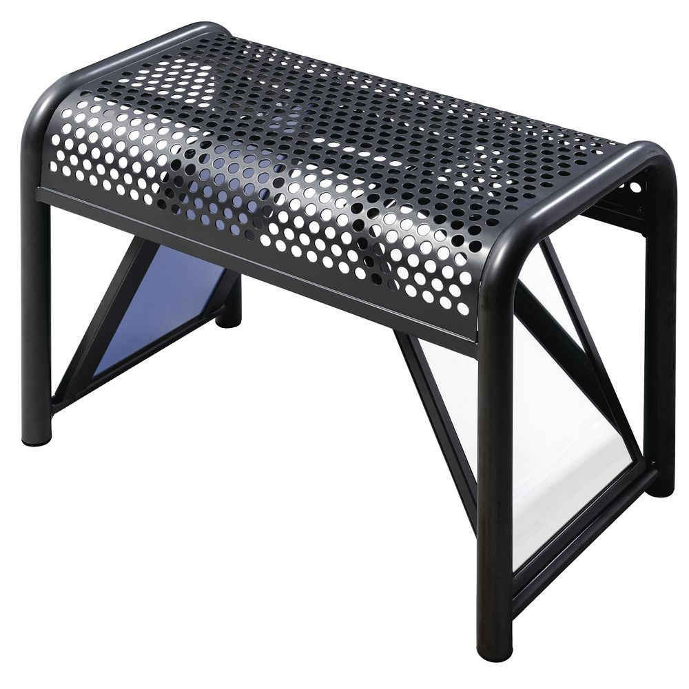 SHOE BENCH, PERFORATED TOP, STEEL, BLACK