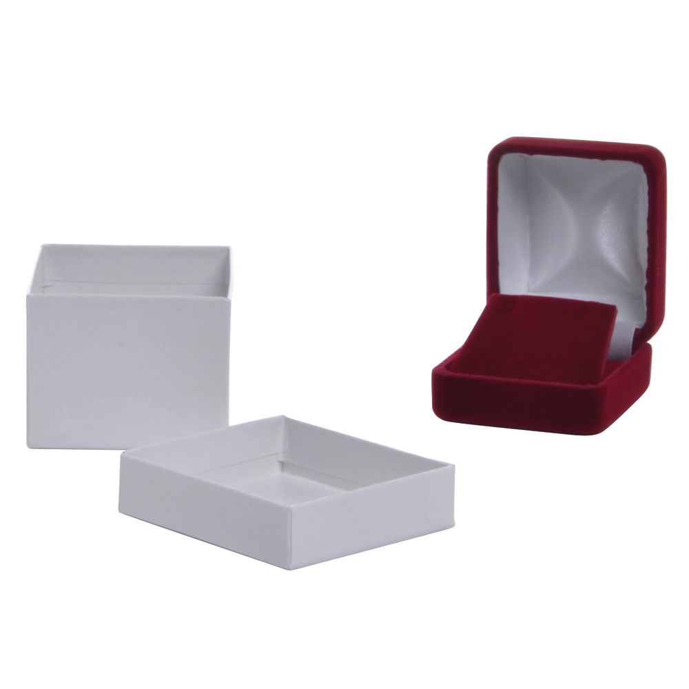 2 x 2 1/4 x 1 1/2 Earring Velvet Box Red