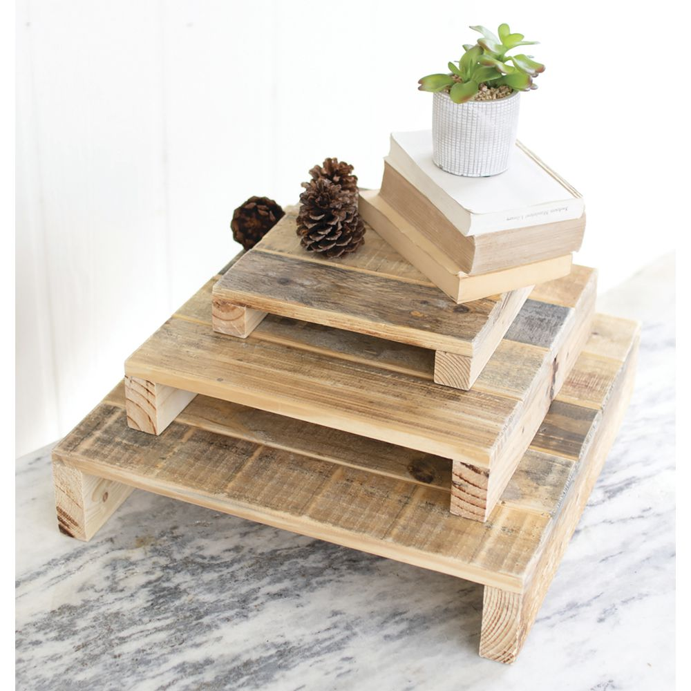 RISERS, RECYCLED WOOD, SET 3