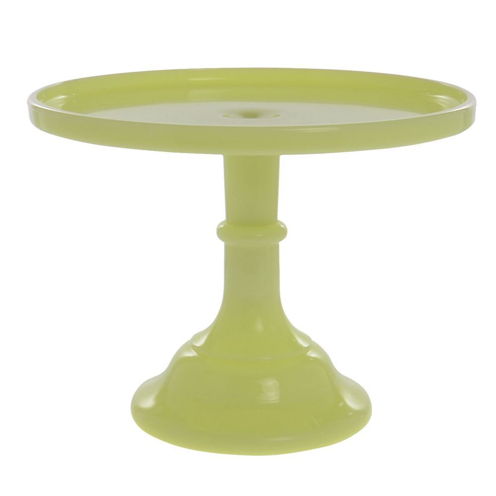 Colored cake stand buttercream yellow glass 10 dia x 8 h for Colored glass cake stand