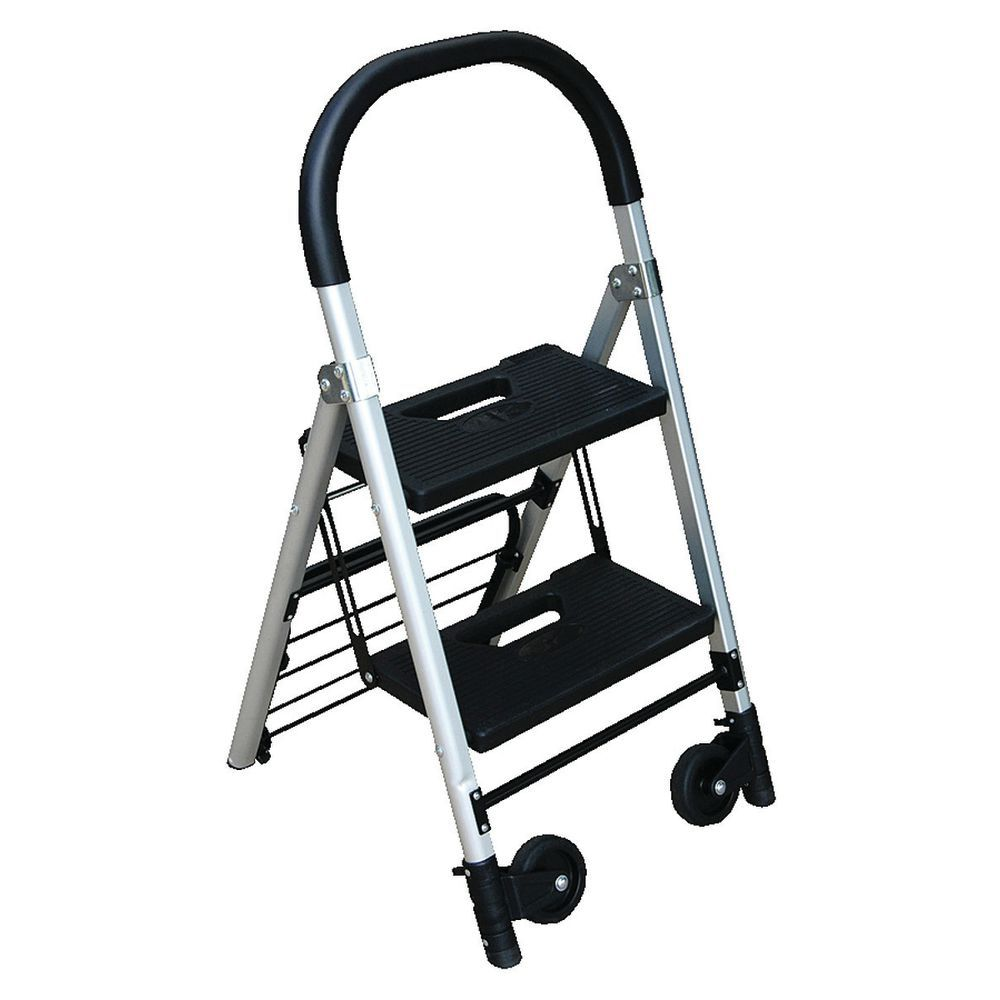 Sensational 2 Step Ladder With Casters 18 X 3 X 38 Inzonedesignstudio Interior Chair Design Inzonedesignstudiocom