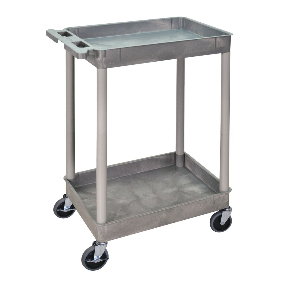 CART W/LIP, 2-SHELF, 18X24, GRAY