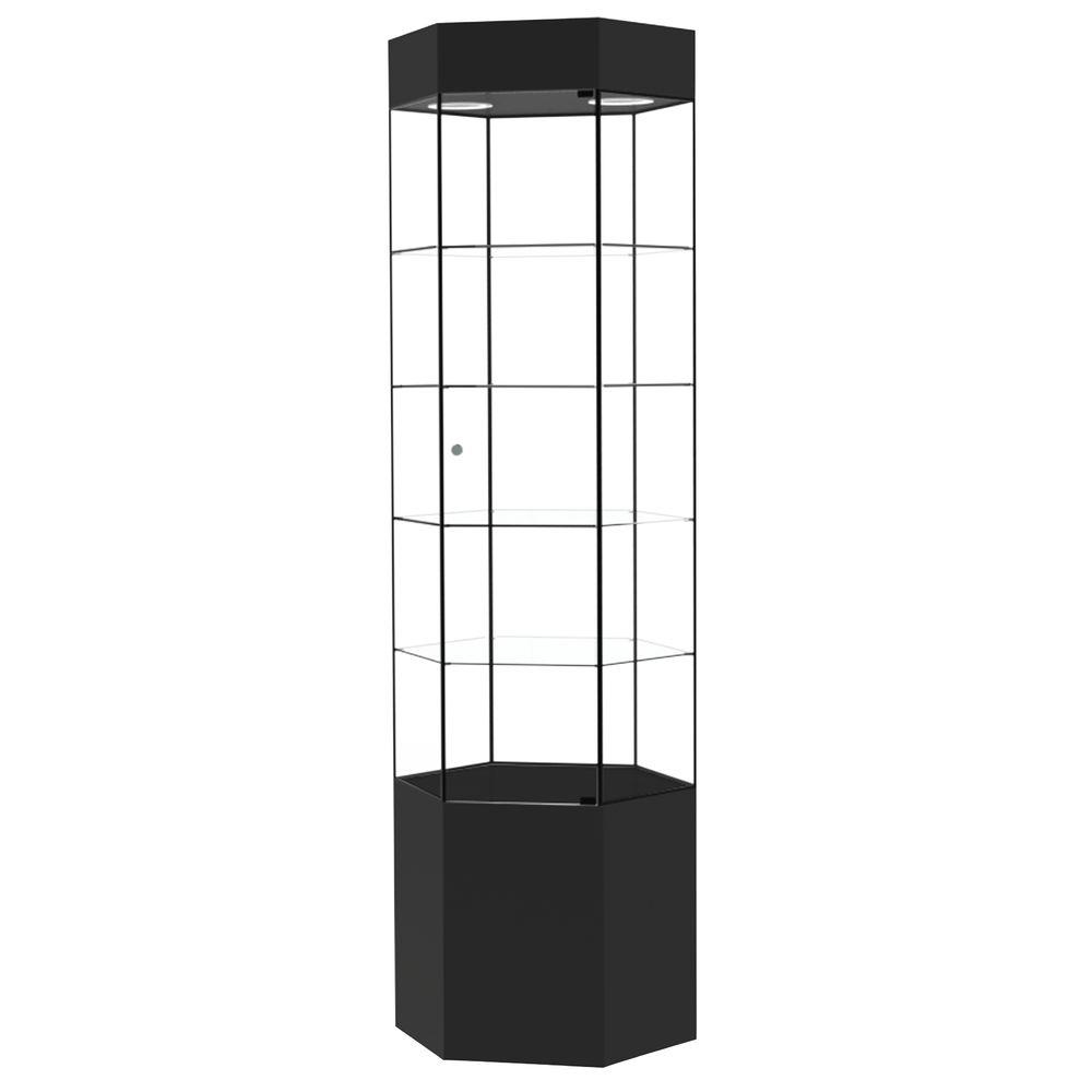 TOWER, NARROW HEX, BLACK W/BLACK FRAME