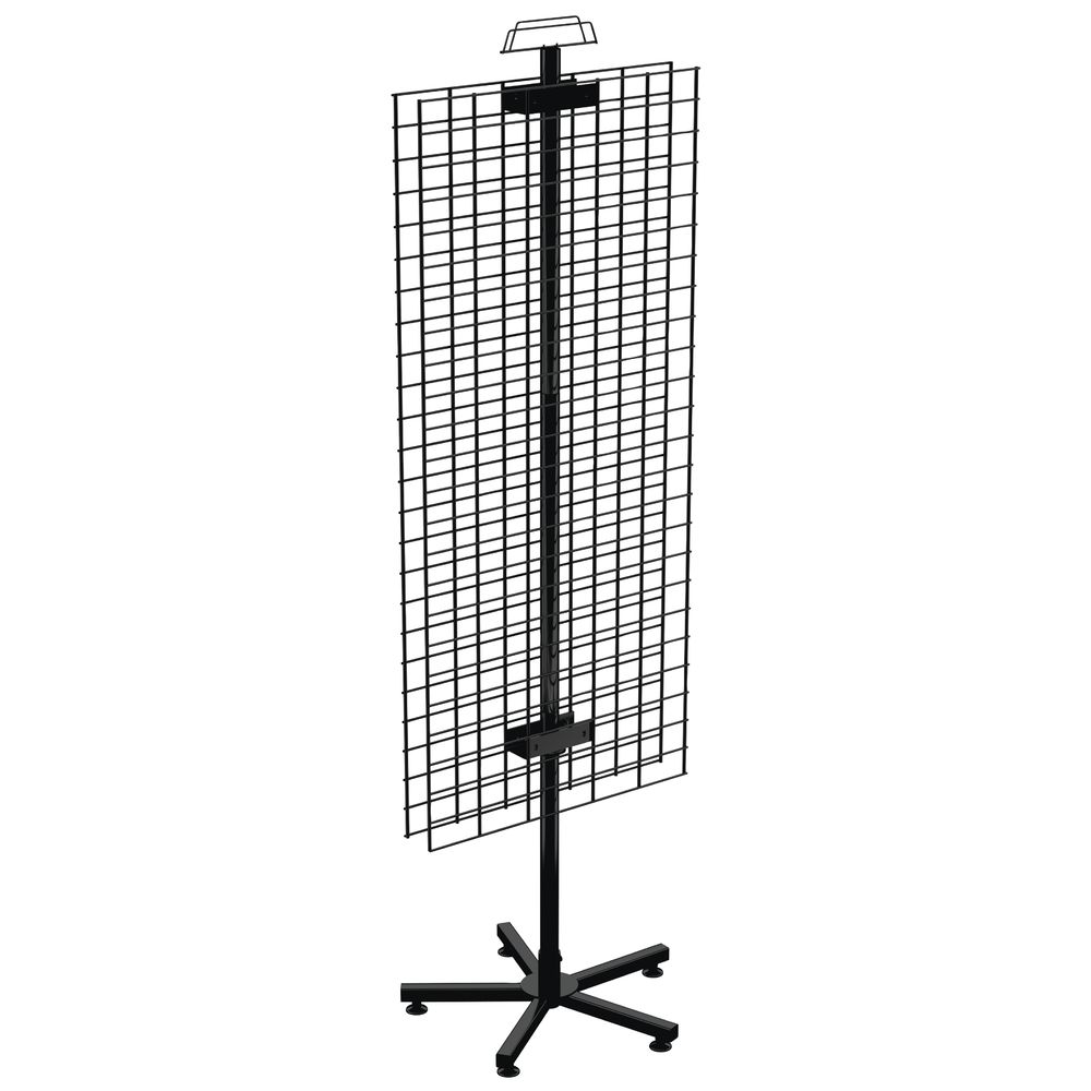 RACK, SPINNER, FLOOR, 2SIDED, WIRE GRID, BLK