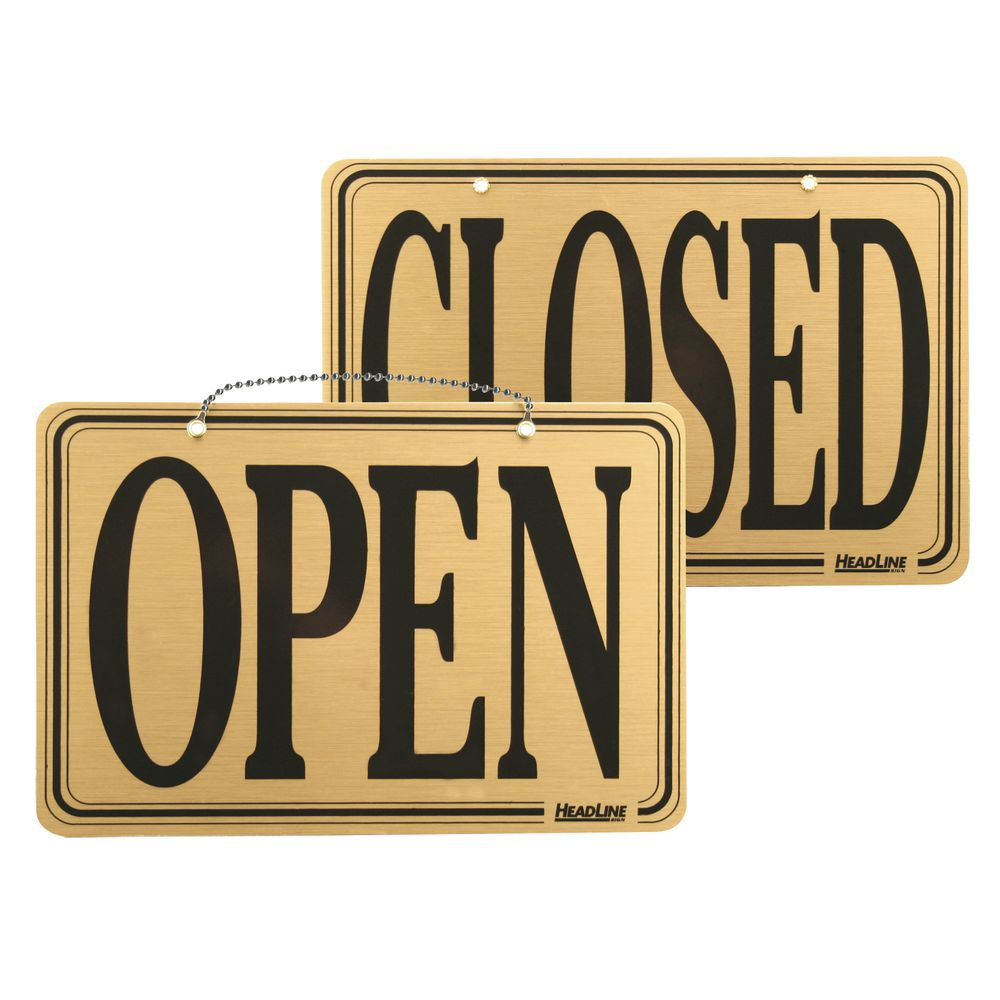 Gold Hanging Open/Closed Sign