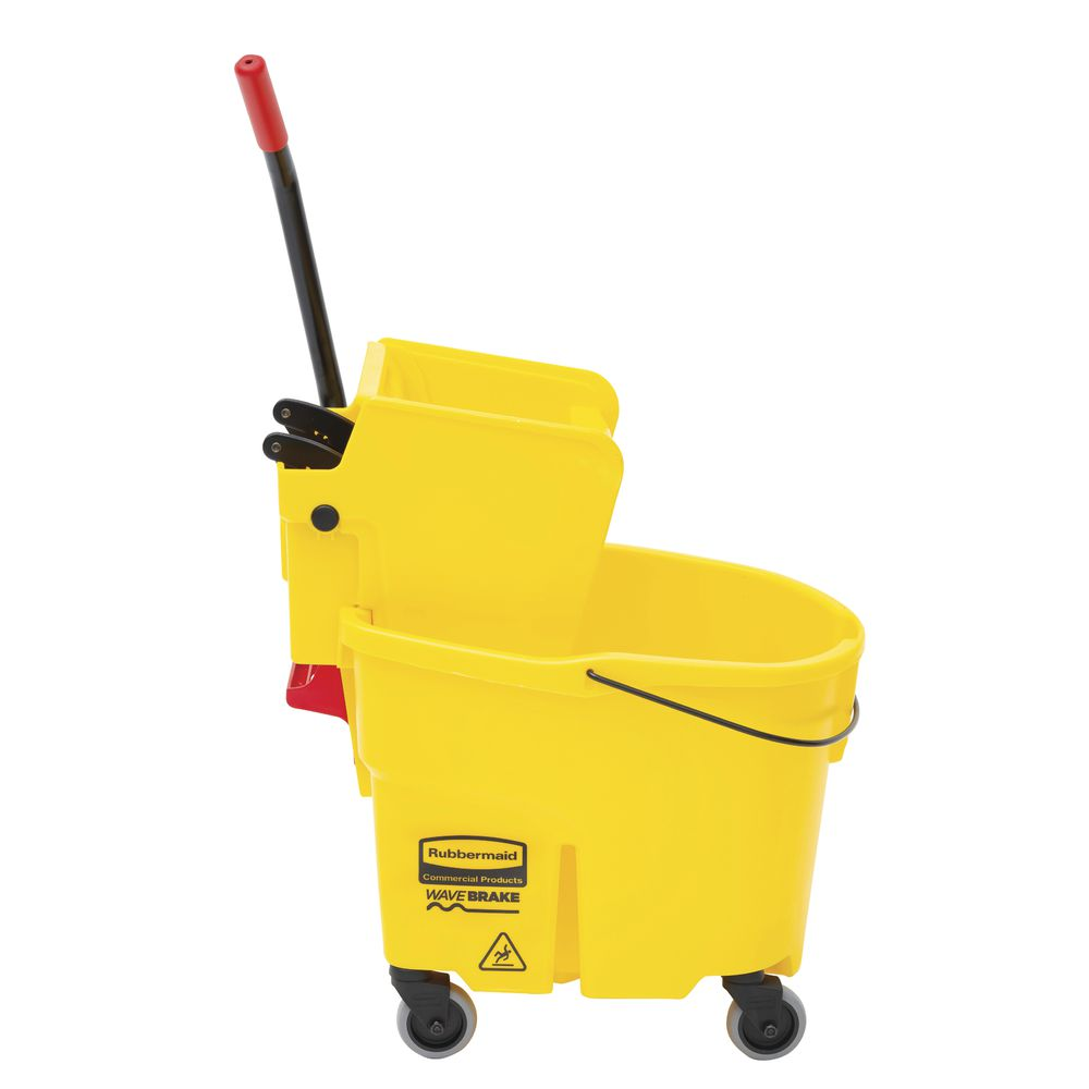 Rubbermaid WaveBrake Mop Bucket With Wringer Side Press 35qt Yellow