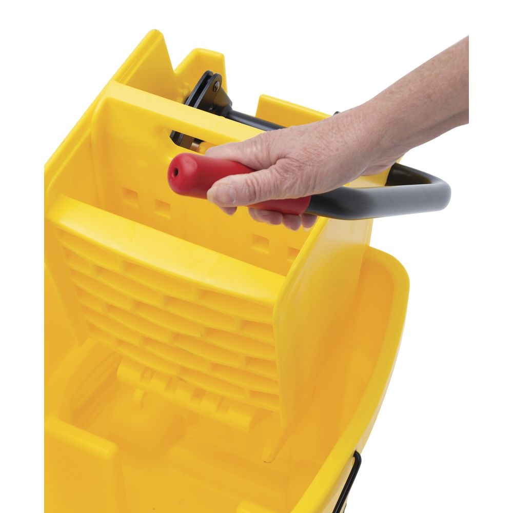 Mop Bucket With Wringer is a 35 Qt.Wavebrake institutional bucket using wave formation