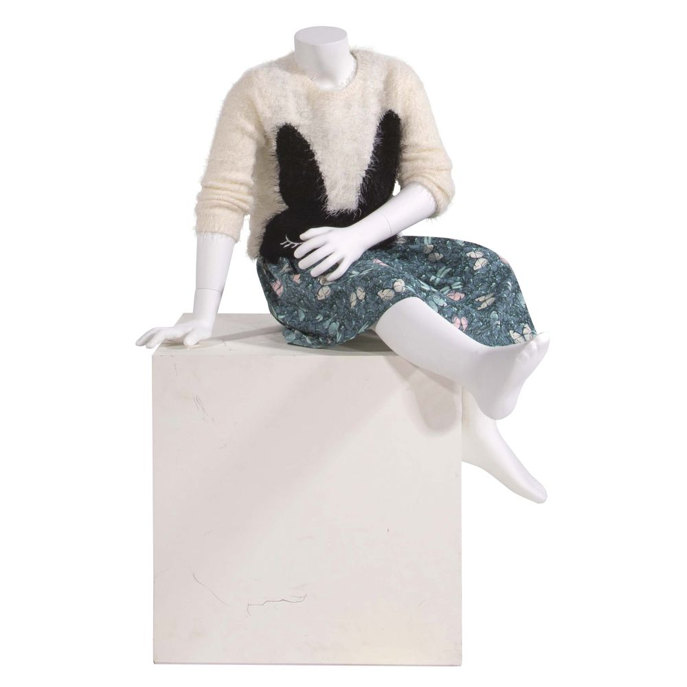 MANNEQUIN, SEATED, CHILD, 6YR, FIBERGLASS, WH