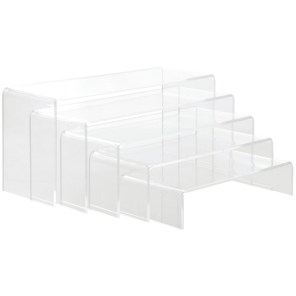 Plastic Display Risers of Five Varying Heights