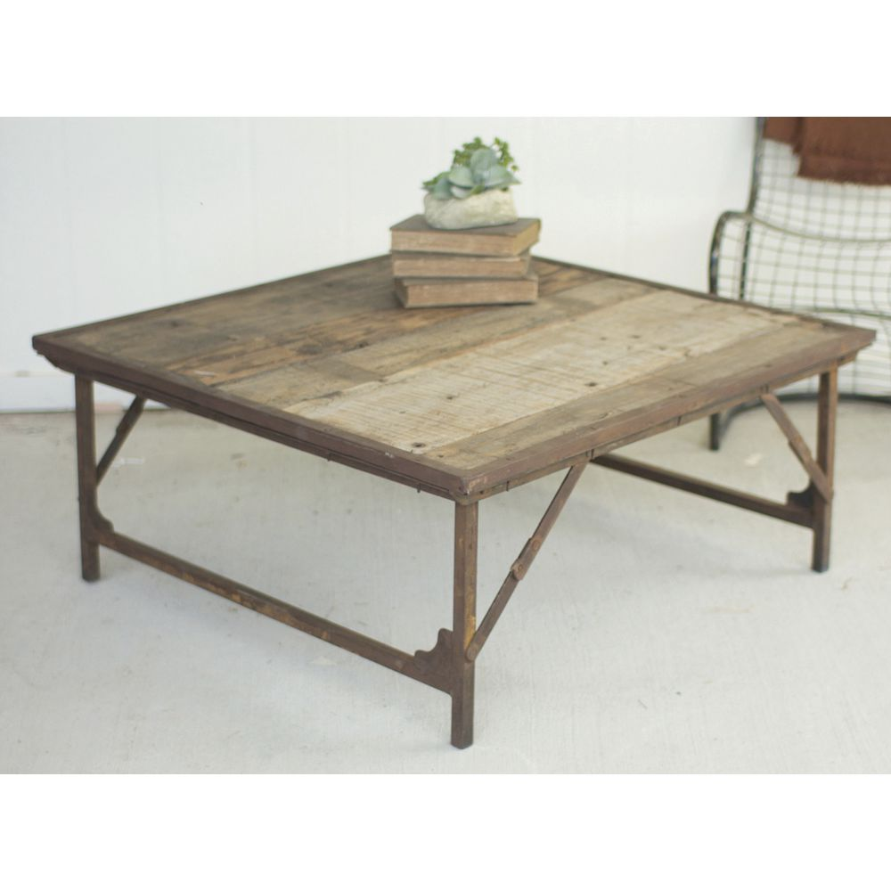 Recycled Wood Folding Coffee Table