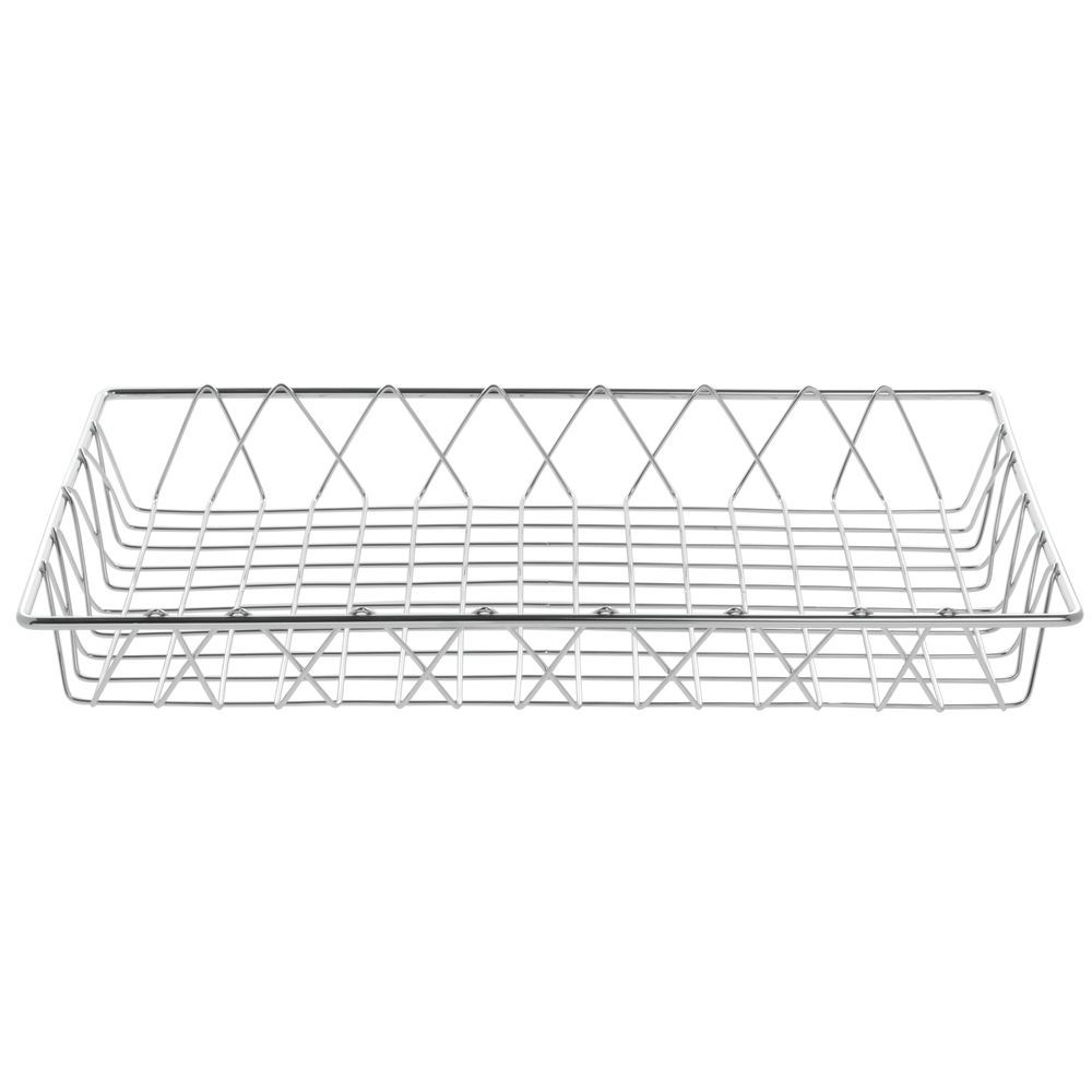HUBERT Rectangular Chrome Plated Steel Wire Basket - 18L x 12W x 2H