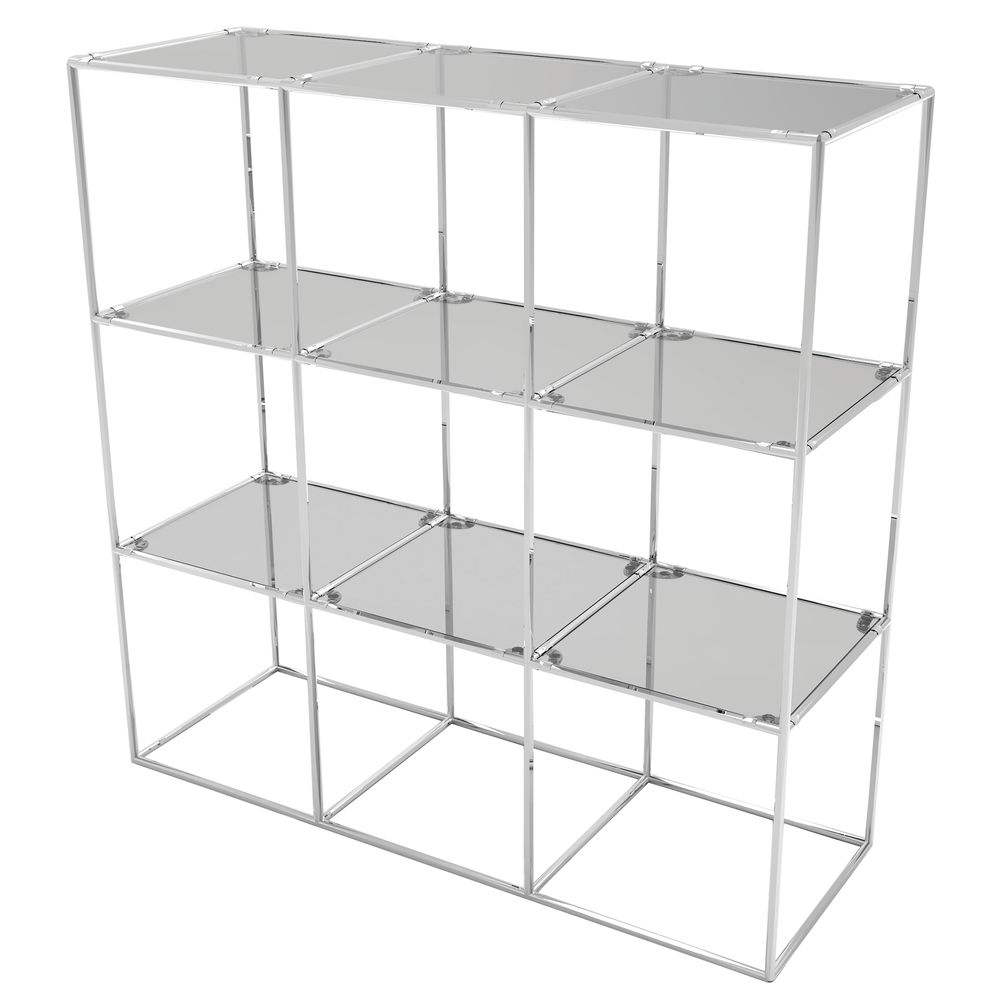CUBE DISPLAY, 9FIXED SHELVES, CHROME