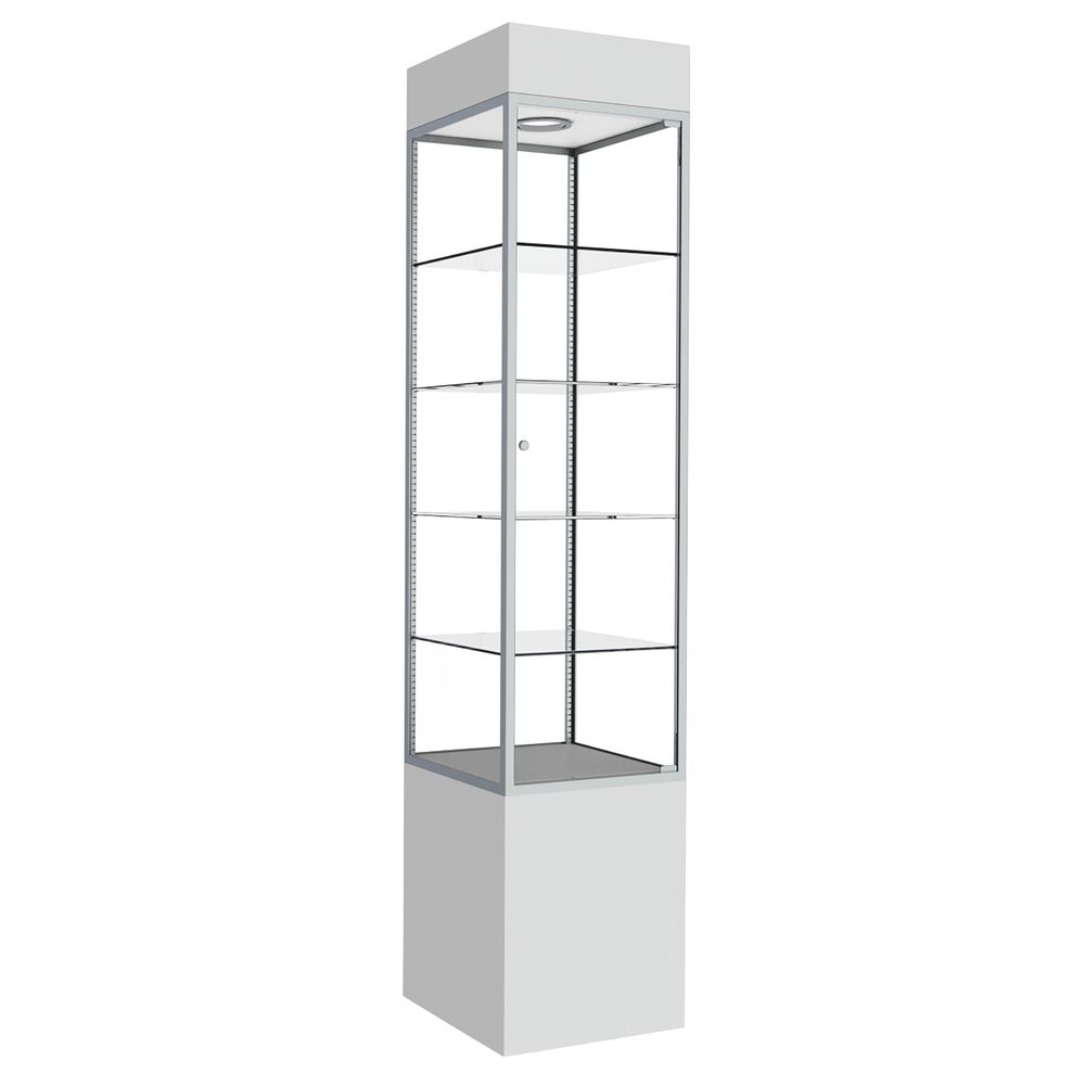 TOWER, DISPLAY, SQRE, WHITE, BR.ALUMINUM FRM