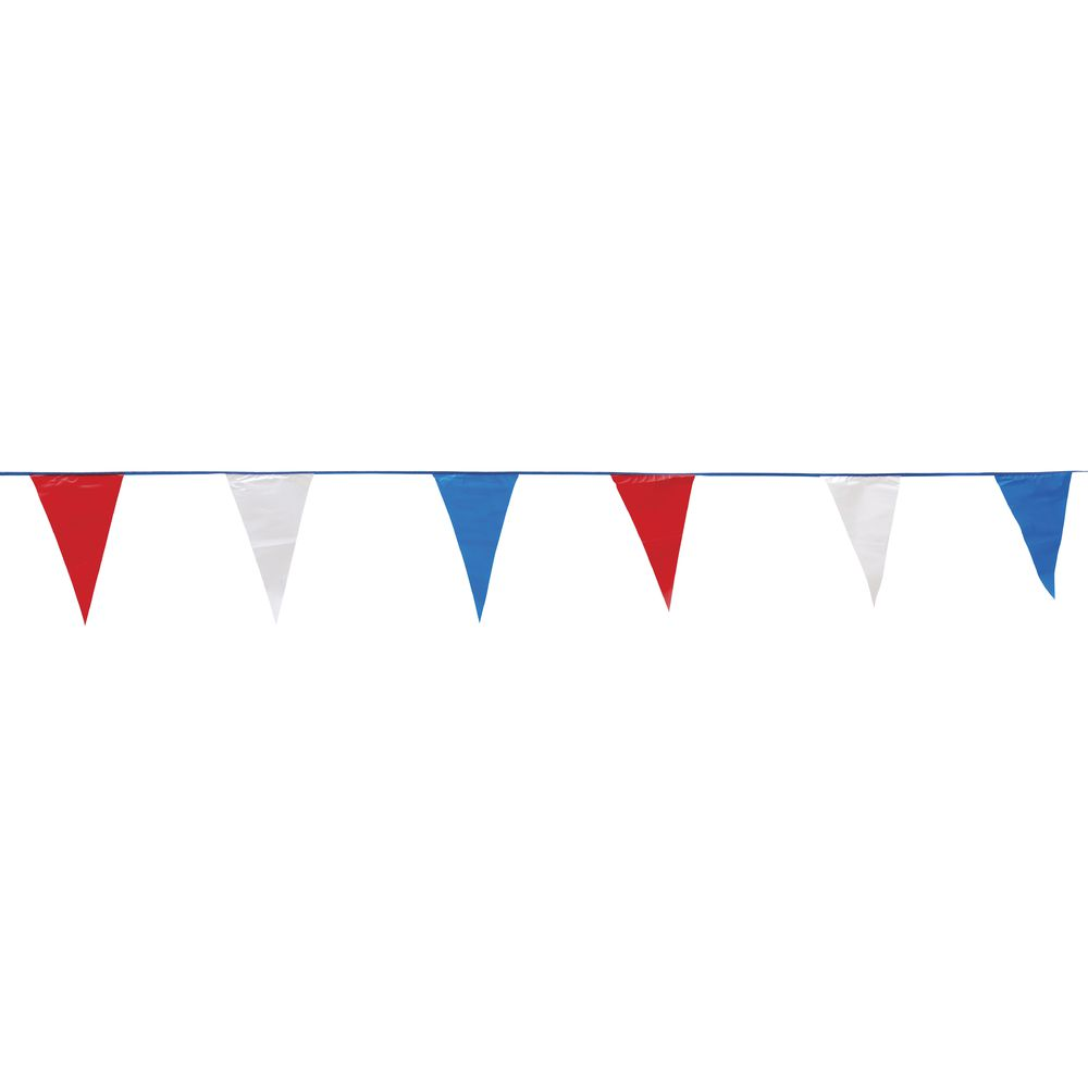 PENNANTS, TRIANGLE, RED/WHITE/BLUE, 100'