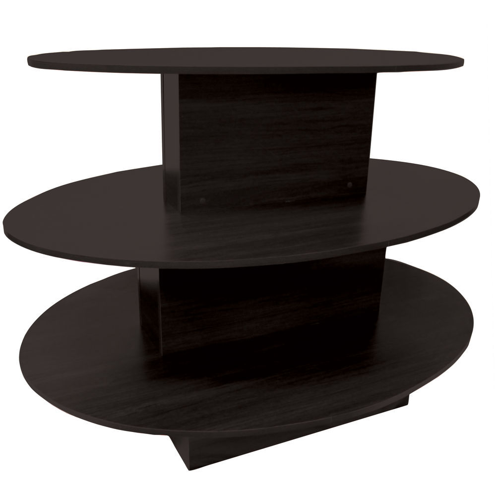 TABLE, 3-TIER, OVAL, BLACK