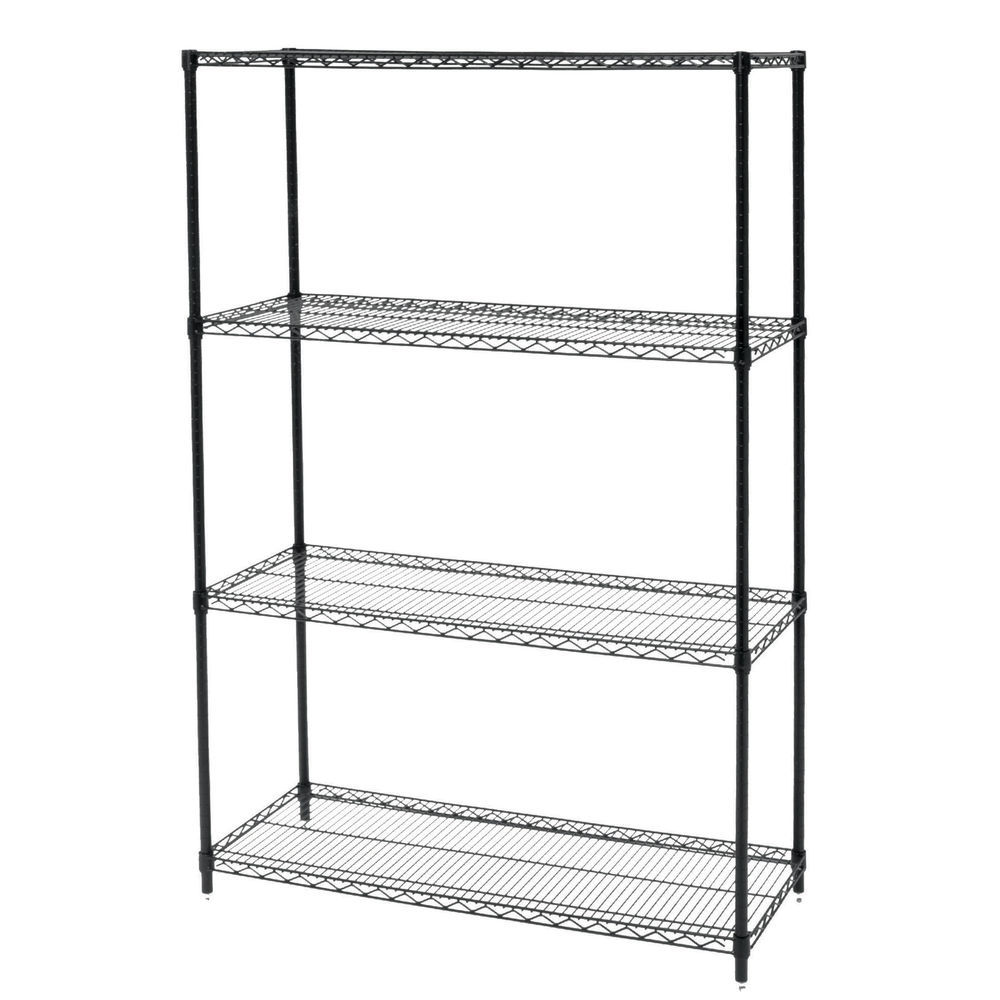Wire Shelving Unit Features a Black Finish