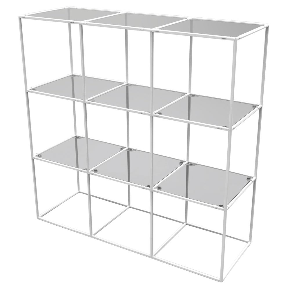 CUBE DISPLAY, 9FIXED SHELVES, WHITE