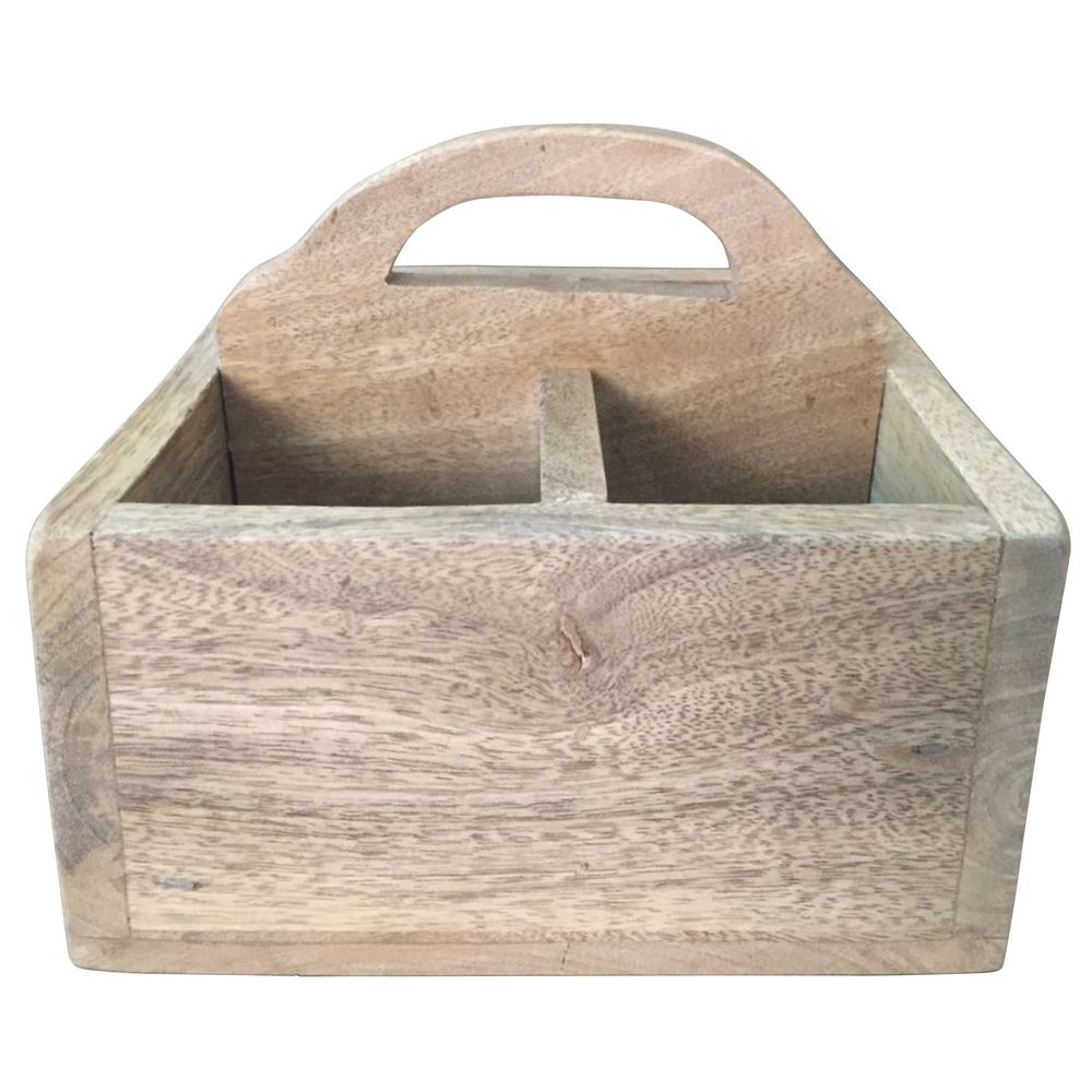 CRATE, DIVIDED, MANGO WOOD, W/HANDLE