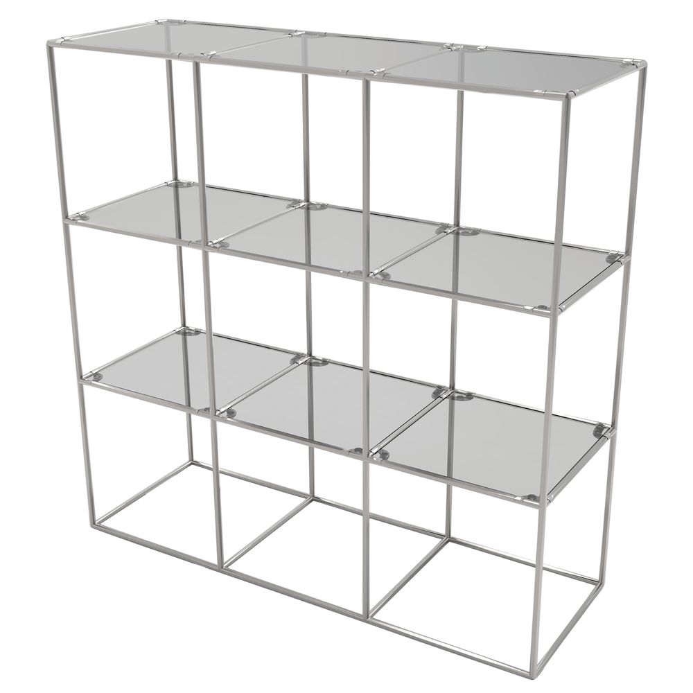 CUBE DISPLAY, 9FIXED SHELVES, SILVER