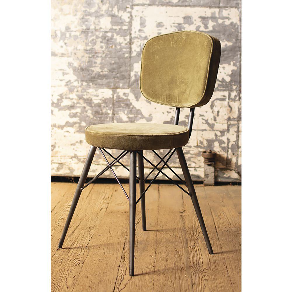 Velvet Dining Chair With Iron Frame Avocado
