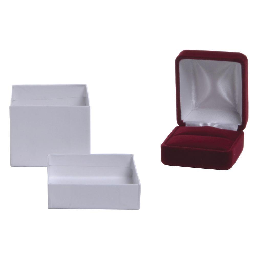 Velvet Ring Box, Red, 2 x 2.25  x 1.5, Pack of 6