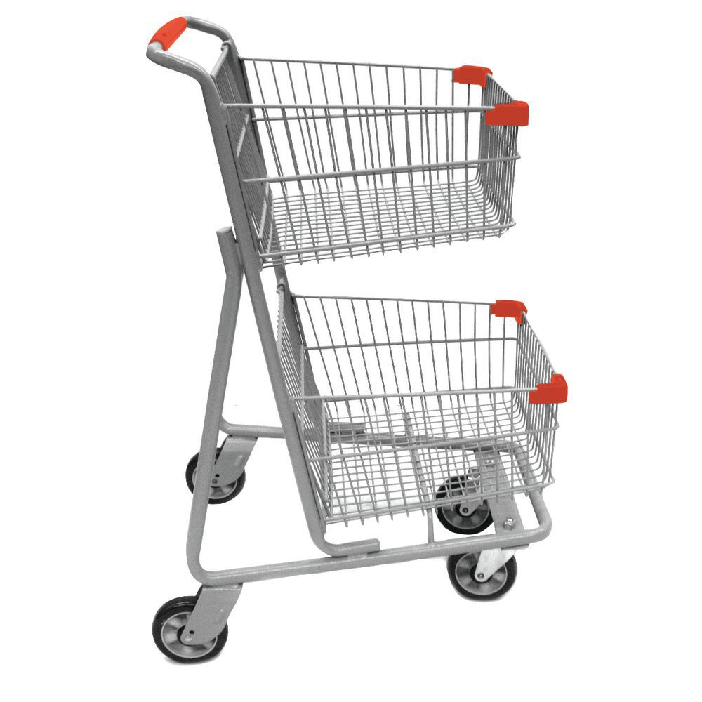 Red Handled Wheeled Grocery Cart