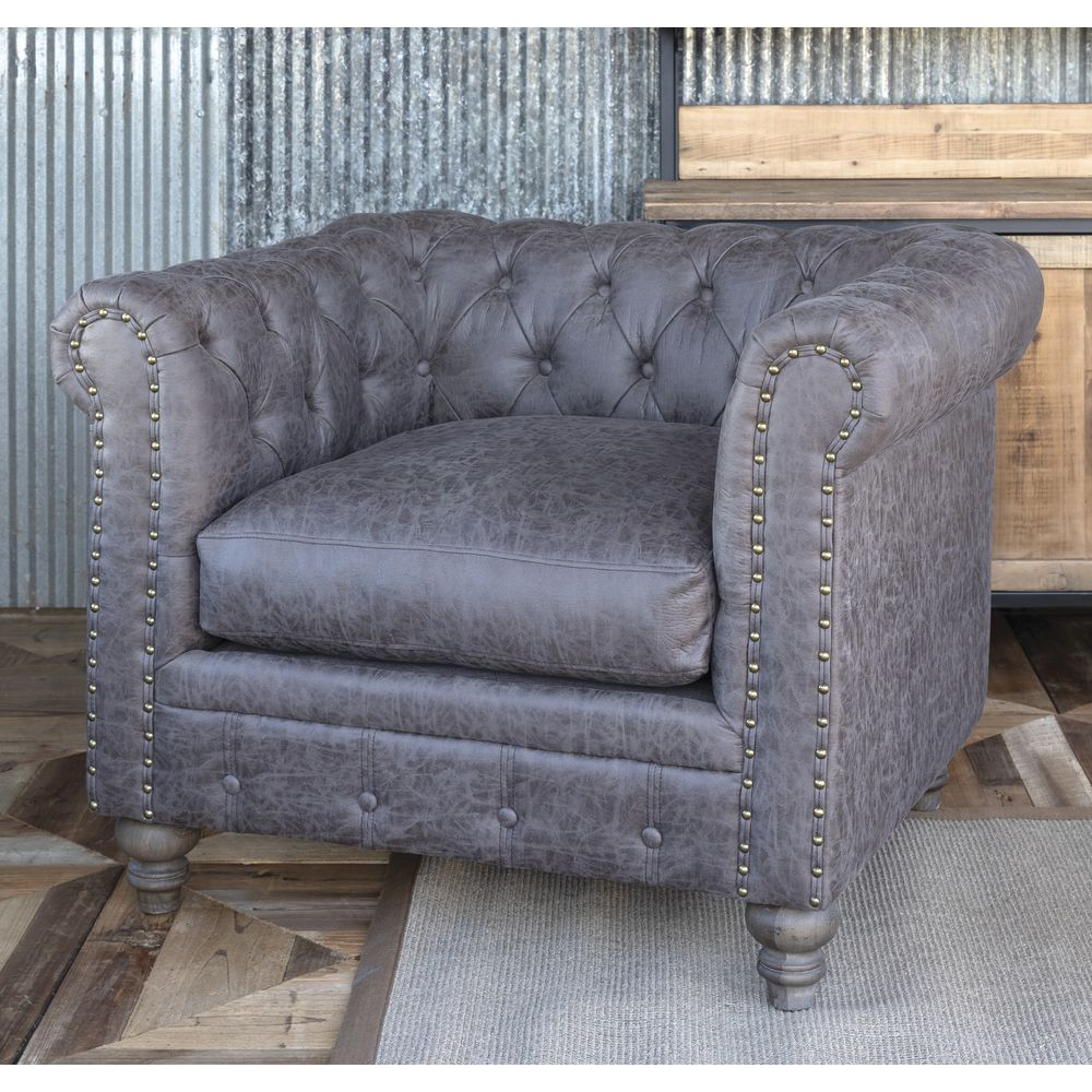 CHAIR, CHESTERFIELD, MICRO SUEDE, GREY