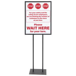 Stop Wait Here Floor Sign