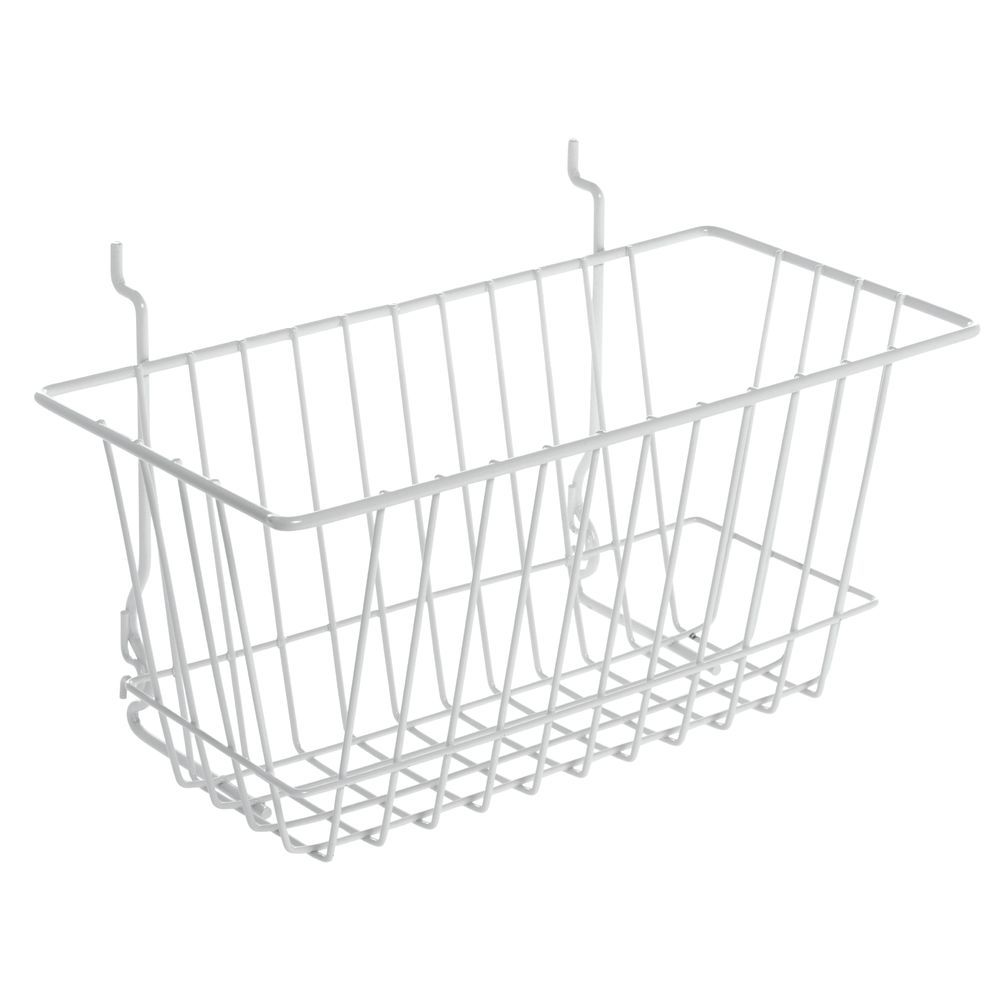 white slatwall wire baskets