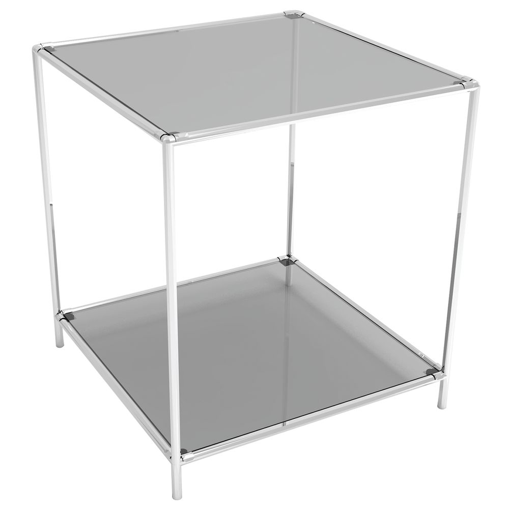 DISPLAY TOWER, 2FIXED SHELVES, CHROME