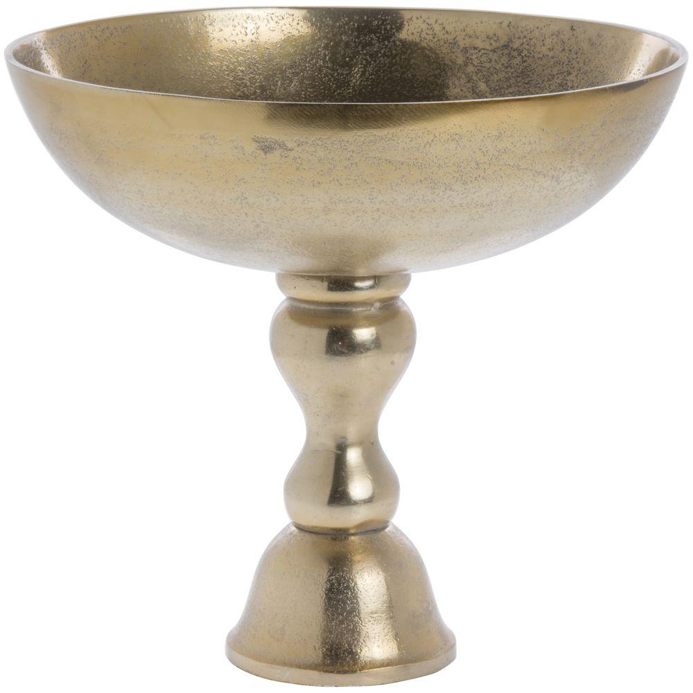 PEDESTAL BOWL, ALUMINUM, GOLD