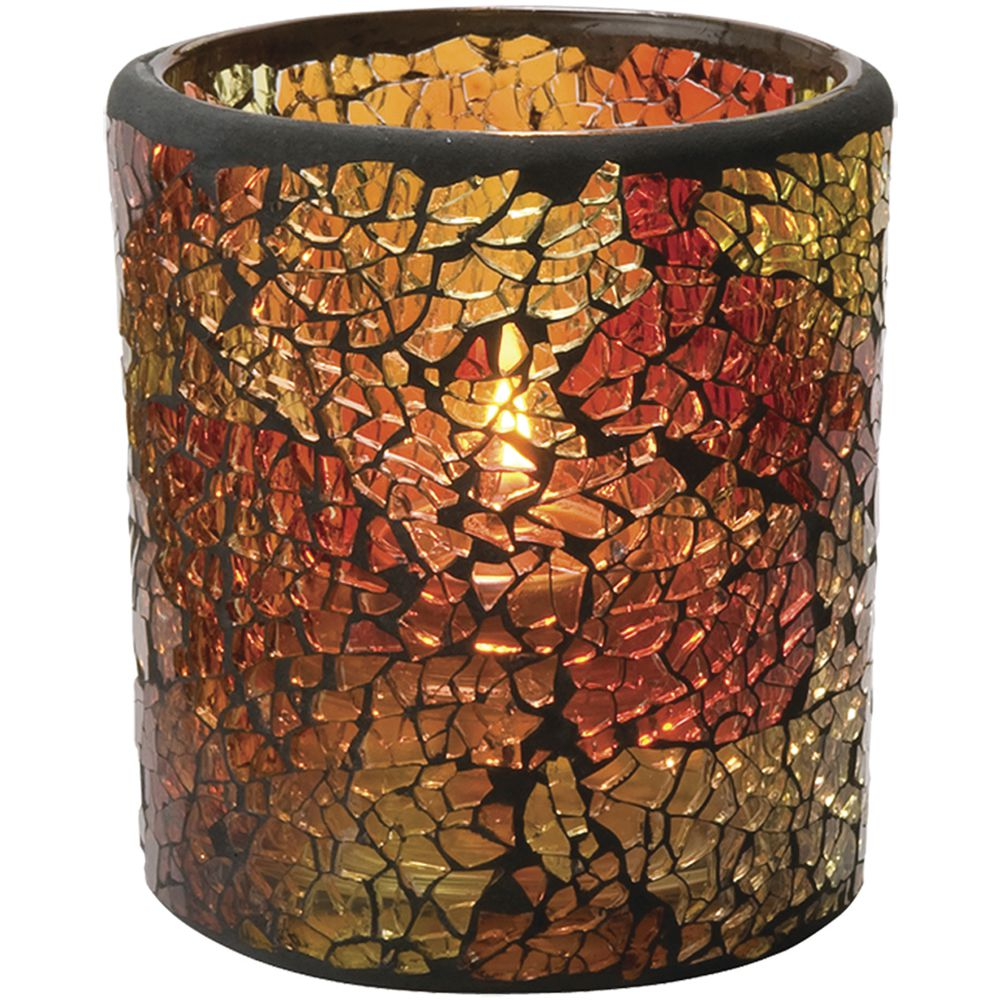 """Crackle Votive Candle Holder Red + Gold Glass 3""""Dia x 3 1/4""""H"""