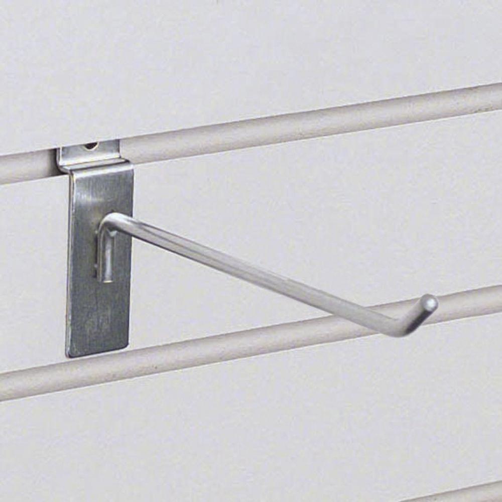 """6"""" Deluxe Satin Chrome Slatwall Hook"""