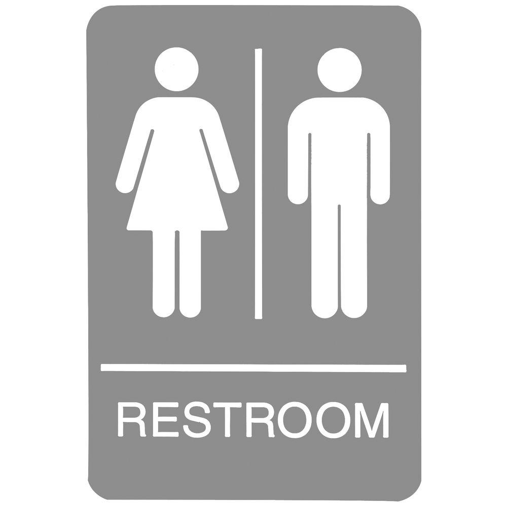 Gray Restroom Sign