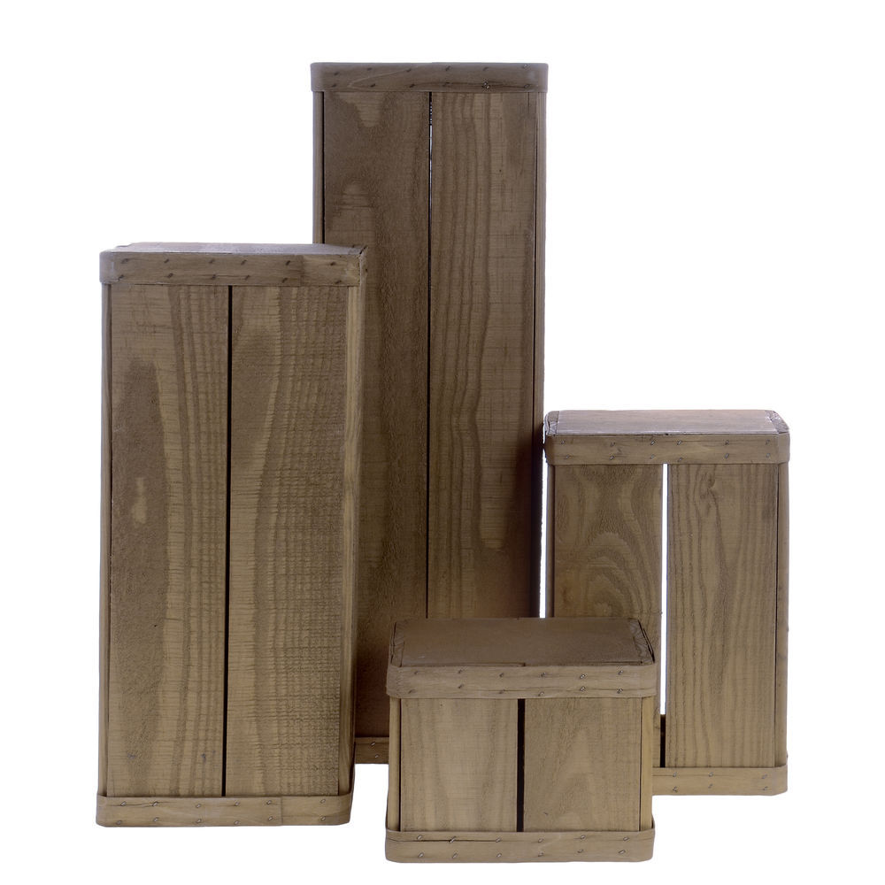 Wooden Pedestal Set Weatherwood