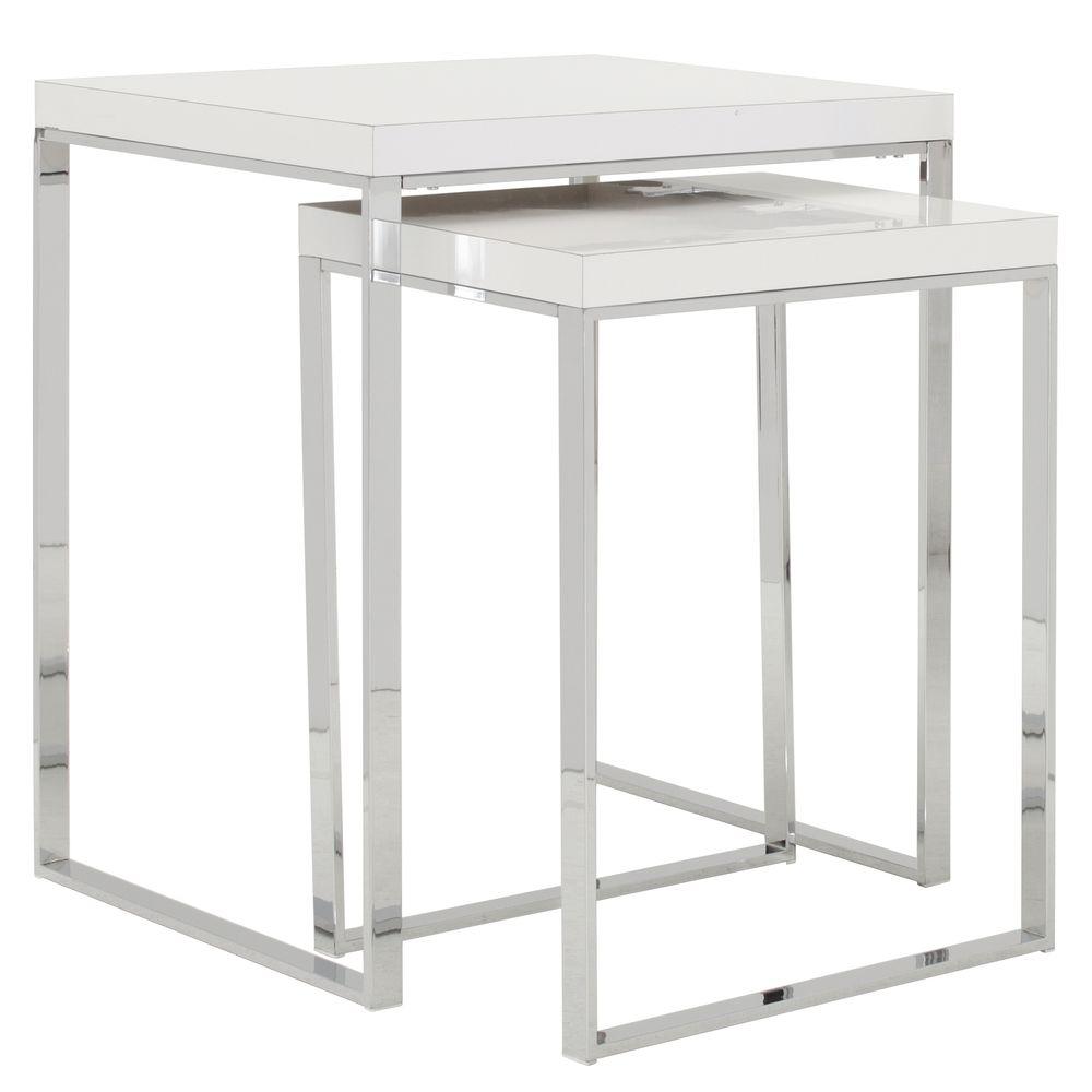 TABLE, DISPLAY, CHROME/WHITE, 24X18X30