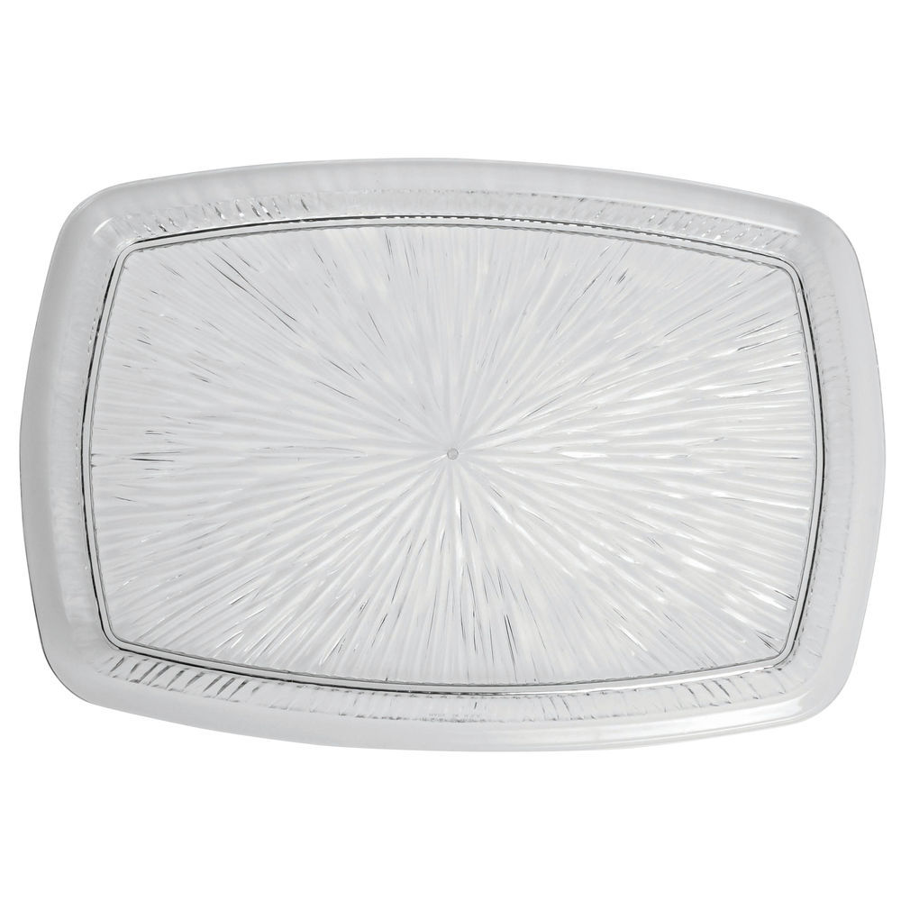 "|Heavyweight Cut Glass-Like Serving Tray Clear Plastic 11"" x 15""W"