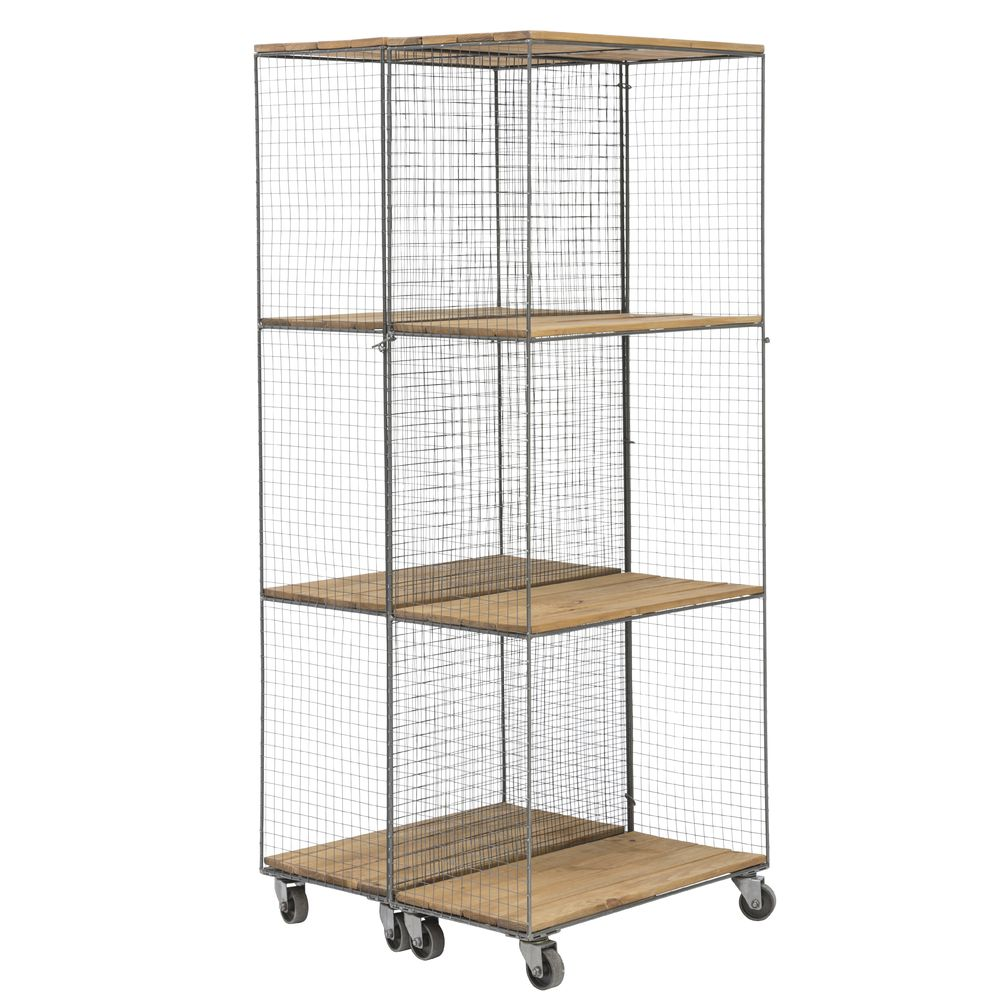 Hinged Metal And Wood Shelving Unit