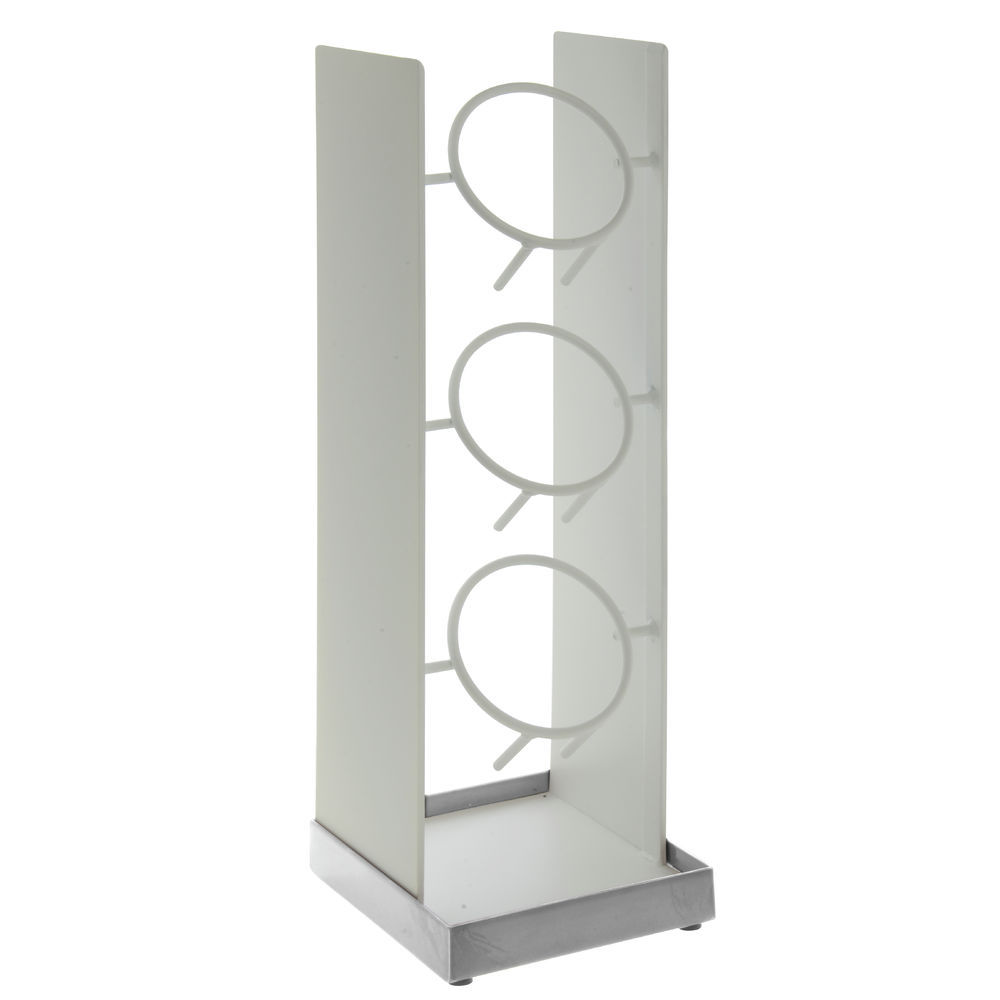 cal mil vertical utensil holder luxe white with silver base