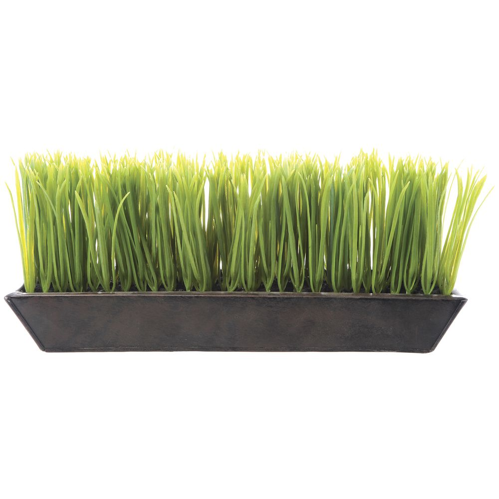 "Decorative Grass In Medium Dark Brown Planter 13""L x 3""W x 6""H"
