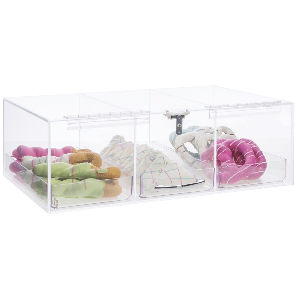 DISPLAY CASE, ALL CLEAR, 3-TIER NAR PLSTIC