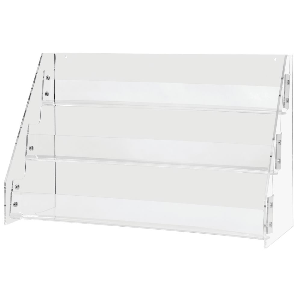 RACK, CARD ACRYLIC TILT BACK 3-TIER