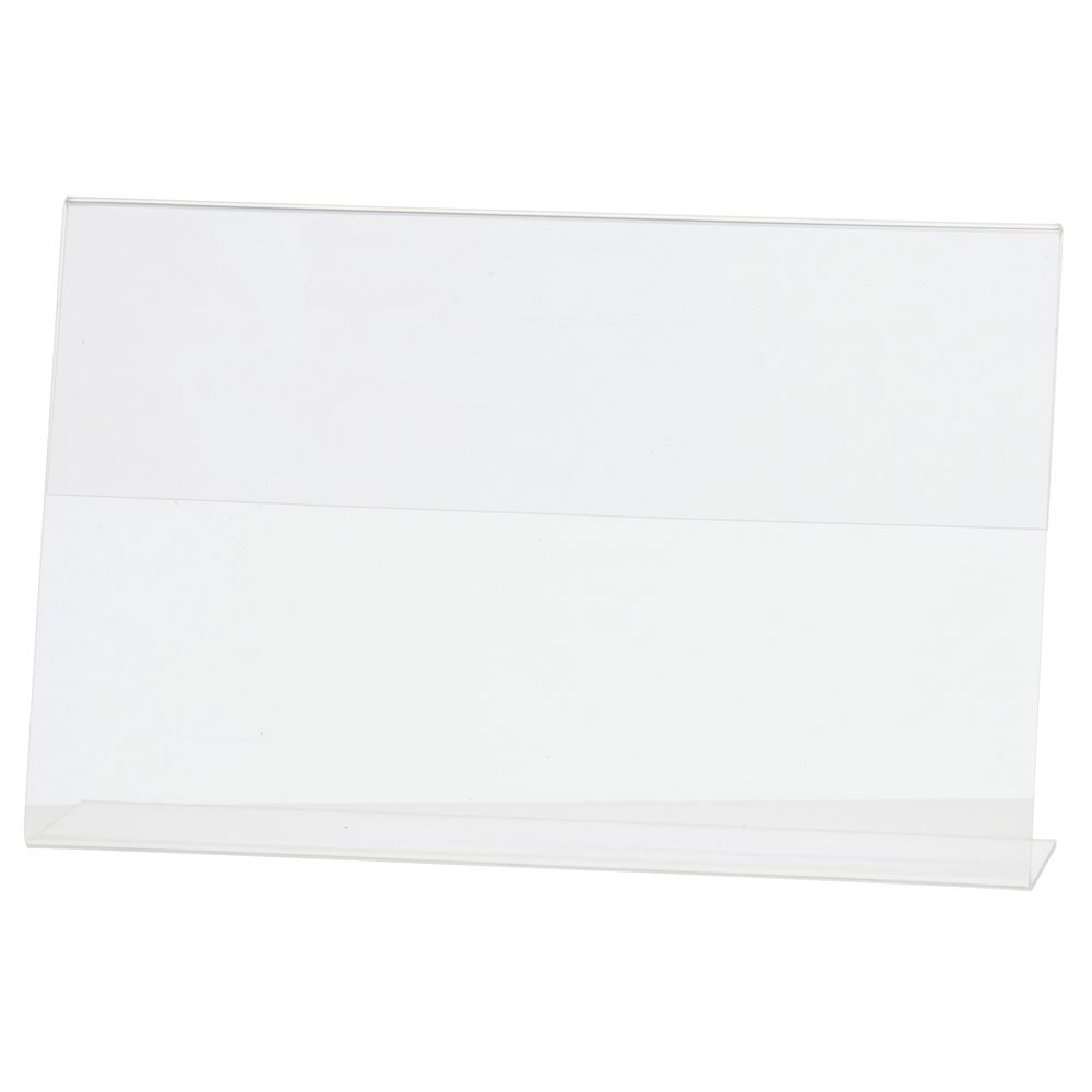 """Horizontal Easel Style Slanted Sign Holder Clear 7""""H x 11""""L"""