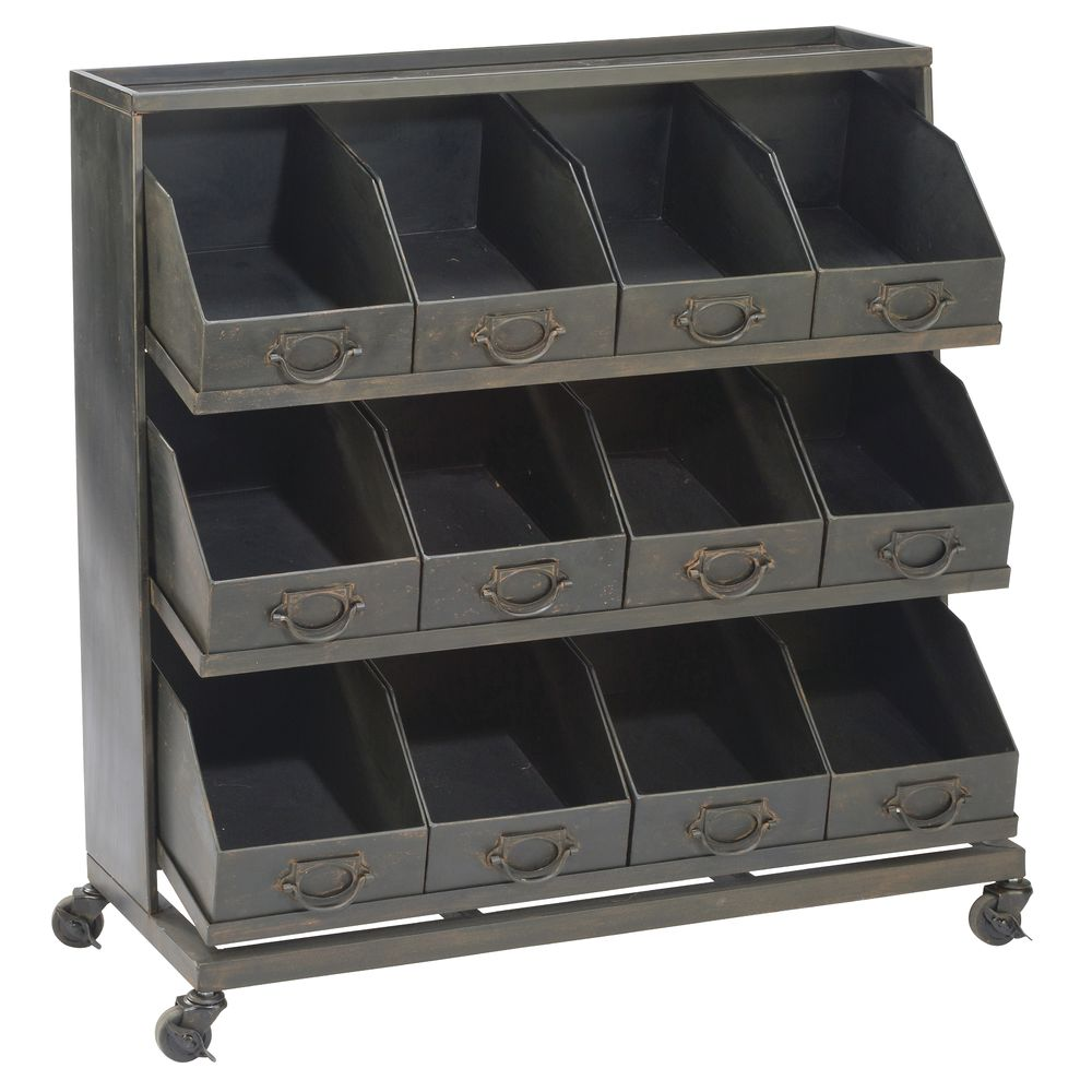 DISPLAY, INDUSTRIAL, IRON, 12BINS, W/CASTERS