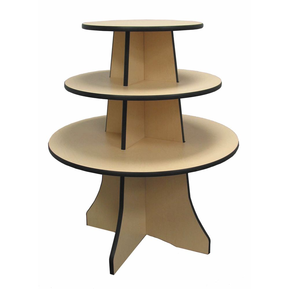Round Display Stand Has A Maple Finish