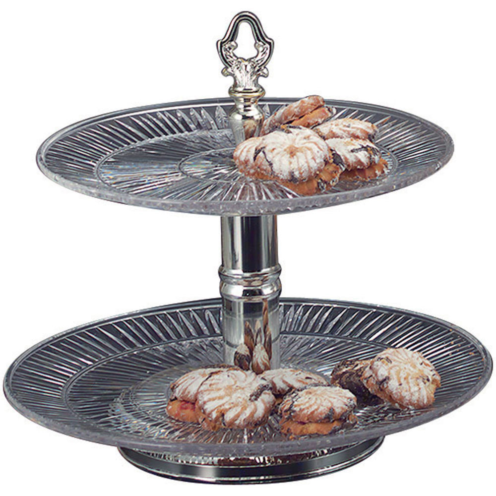 """STAND, 2-TIER PLASTIC/SILVER, 13""""DIAX11""""H"""