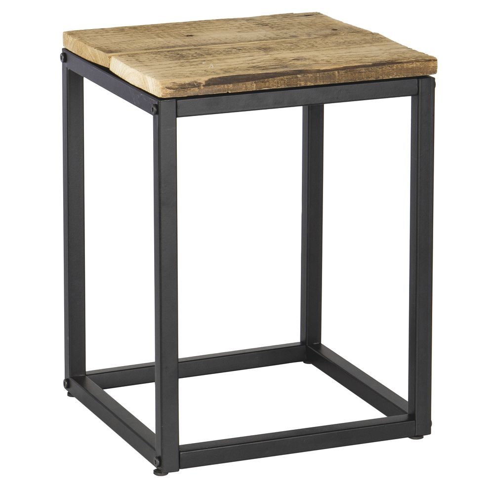 "PEDESTAL, WOOD/METAL, BLACK/NATURAL, 16""H"