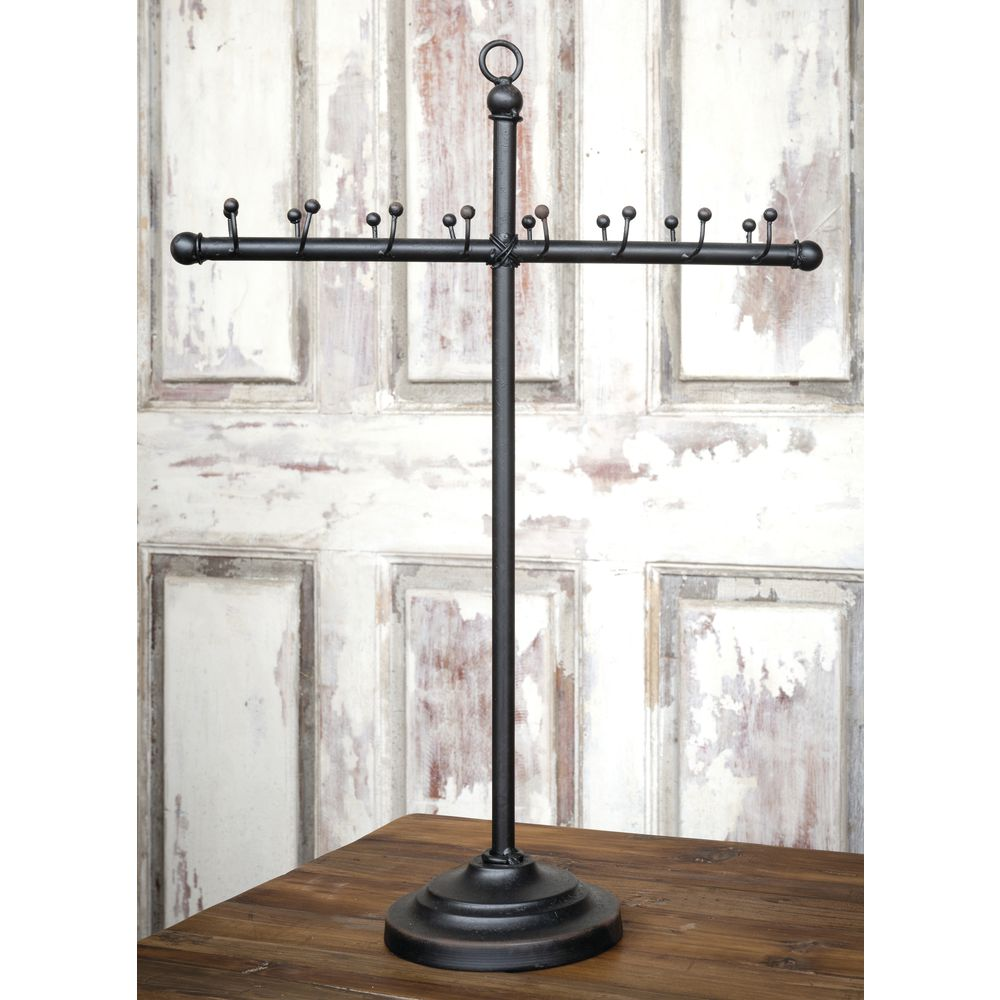 "JEWELRY TBAR, IRON, W/HOOKS, BLACK, 20""H"